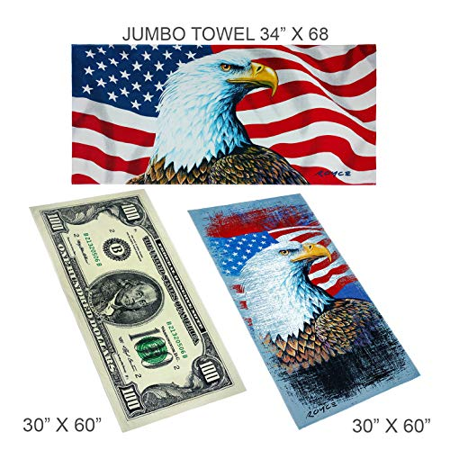 Ben Kaufman - American Patriot variety pack- Pool and Beach Towel 3 Piece Set- Eagle, American Flag and $100 Bill Designs ()