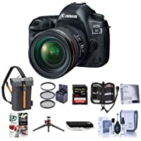Canon EOS-5D Mark IV Digital SLR Camera Body Kit with EF 24-70mm f/4L IS Lens - Bundle with 32GB U3 SDHC Card, Holster Case, Table Top Tripod, Cleaning Kit, 77mm Filter Kit, Software Package