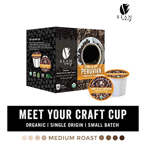 Bean Envy Organic Single Serve Coffee Pods - Fair Trade, Specialty Grade, Small Batch, Medium Roast - Compatible With Keurig Brewers - Peruvian (16ct)
