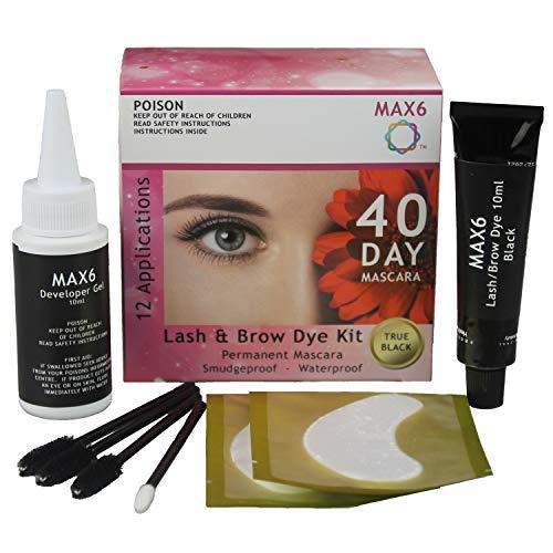 MAX6 Eyelash & Brow Dye/Tint Kit Permanent Mascara (Black) with accessories (Best Home Eyelash Dye Kit)