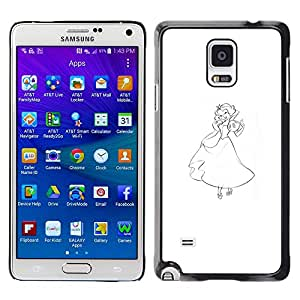 A-type Colorful Printed Hard Protective Back Case Cover Shell Skin for Samsung Galaxy Note 4 IV / SM-N910F / SM-N910K / SM-N910C / SM-N910W8 / SM-N910U / SM-N910G ( Girl Princess Art Pencil Drawing Fairy Tale )