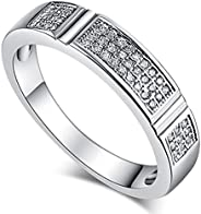 Veunora Stacking 925 Sterling Silver Created White Topaz Filled Eternity Band Ring