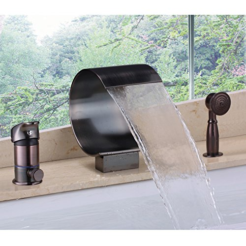 JiaYouJia Deck Mount Waterfall Roman Tub Filler Faucet with Personal Hand Shower, Oil Rubbed Bronze - Deck Mount Roman Tub Faucet