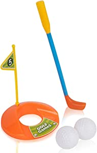 Gamie Mini Tabletop Golf Game - 5 Piece - Indoor Table Top Game for Kids - Includes 2 Balls, 1 Putter, 1 Flag and 1 Hole - Develops Motor Skills - Great Gift Idea for Boys and Girls