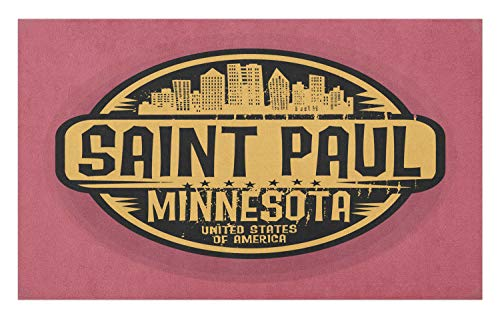 Ambesonne Minnesota Doormat, Worn Out Look Circular Frame Silhouette of St Paul City, Decorative Polyester Floor Mat with Non-Skid Backing, 30 W X 18 L Inches, Pale Coffee Dried Rose -