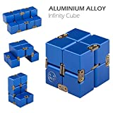 Infinity Cube, Stress Relief Fidget Metal Cube for Adult & Kids, Fidget Toy for ADD, ADHD (Blue)