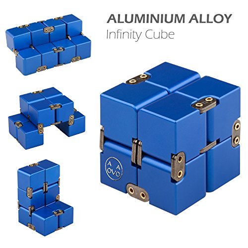 Infinity Cube, Stress Relief Fidget Metal Cube for Adult & Kids, Fidget Toy for ADD, ADHD (Blue) by AOVOA