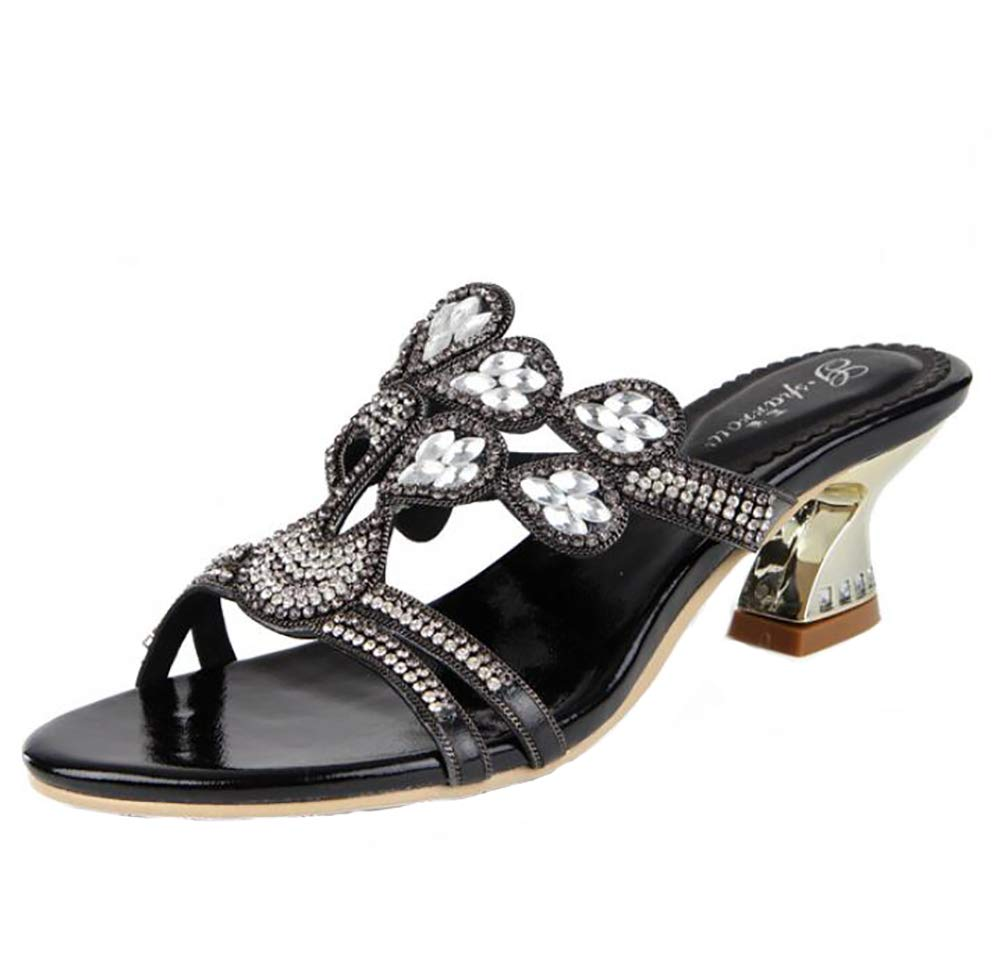 Black Women's Summer Bohemia Peacock Rhinestone Slippers, Fashion Party Casual Sandals Outdoor Cozy Sparkling Elegant Flip Flops