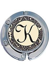 Vintage Pattern Letter K Foldable Purse Hanger Handbag Table Hook
