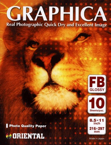 Oriental Graphica Fiber Base Double Weight Fine Art Inkjet Paper, 320gsm, 12 mil., Glossy 8.5x11