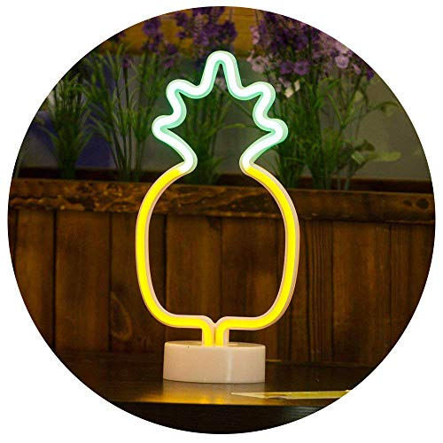 Pineapple Neon Signs, LED Neon Light Sign with Holder Base for Party Supplies Girls Room Decoration Accessory for Luau Summer Party Table Decoration Children Kids Gifts (Pineapple with Holder)