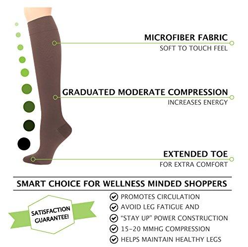 Compression Socks | Womens Brown Stockings (1 pair) | 15-20 mmHg Graduated | Sock Size 9-11 | Improve Foot Health Comfort Circulation for Nurses, Diabetes, Varicose Veins, Travel, Pregnancy by Sugar Free Sox (Image #2)