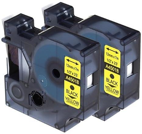 2 Casetes de Cinta compatibles con Dymo D1 45018 S0720580 Negro sobre Amarillo 12mm x 7m