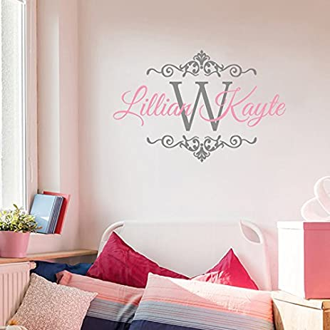 BATTOO Baby Girl Monogram Wall Decal Name Nursery Damask Vinyl Sticker  Initial Frame Wall Sticker Vinyl