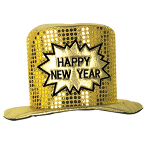 Glitz 'N Gleam HNY Top Hat (gold) Party Accessory  (1 (New Years Eve Hat)