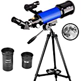 ExplorOne Educational Telescope, 70mm Apeture Astronomy Refracter Telescope 400mm AZ Mount, Good to View Moon and Planet - Travel Scope with Two Eyepieces, Portable Telescope for Kids &Beginners