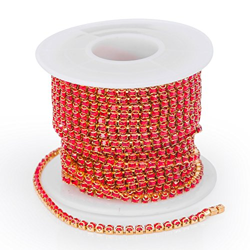 10 Yards Red Rhinestone Chain, Rhinestone Ribbion Roll for Shoes Jewellery Clothing Crafts, Bridal Bouquet Embellishments, Wedding Dress, Phone Case, Party DIY Decorations - Party Decorations Diy