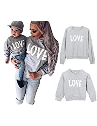 YT Baby Mommy and Me Love Print Long Sleeve Pullover Tee Tops Family Matching Casual Sweatshirt T-Shirt Clothes Outfits