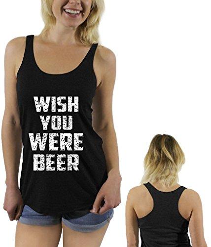 Awkwardstyles Wish You Were Beer White Sayings Racerback tank tops + Bookmark L Vintage Black