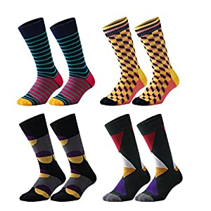 Fancyteck Mens 4 Pack Patterned Dress Socks, Formal Colorful Cotton Trouser Business Crew Socks, Thick&Warm for Winter (Mature)