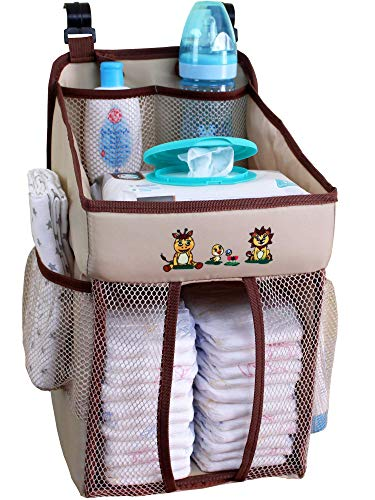 - Baby Crib Diaper Caddy - Hanging Diaper Organizer - Storage for Baby Nursery - Hang on Crib, Changing Table, Playard or Furniture - Giraffe Brown - 17x9x9