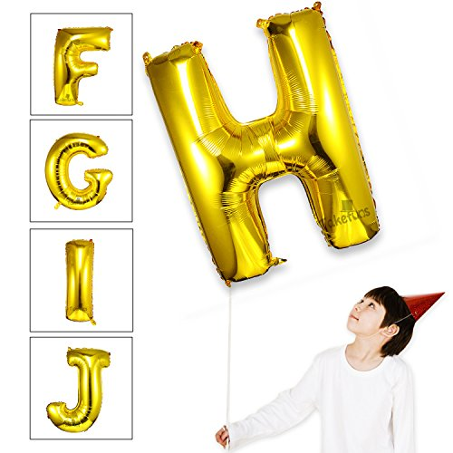takefuns gold letter balloons 40 inch large mylar foil helium balloons jumbo alphabet balloons letter for birthday bridal shower anniversary decorations