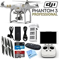 DJI Phantom 3 Professional Quadcopter Drone with 4K UHD Video Camera & CS Kit: Includes Handheld Transmitter (Radio Controller), Sandisk 32GB Ultra MicroSD Memory Card, Lexar 16GB 633x MicroSD Memory Card, SD Card Reader, Intelligent Flight Battery, 2 Sets of Propellers, Smart Battery Charger & CS Microfiber Cleaning Cloth Review Review Image