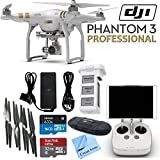 DJI Phantom 3 Professional Quadcopter Drone with 4K UHD Video Camera & CS Kit: Includes Handheld Transmitter (Radio Controller), Sandisk 32GB Ultra MicroSD Memory Card, Lexar 16GB 633x MicroSD Memory Card, SD Card Reader, Intelligent Flight Battery, 2 Set