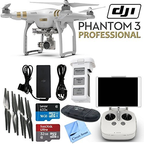 DJI Phantom 3 Professional Quadcopter Drone with 4K UHD Video Camera & CS Kit: Includes Handheld Transmitter (Radio Controller), Sandisk 32GB Ultra MicroSD Memory Card, Lexar 16GB 633x MicroSD Memory Card, SD Card Reader, Intelligent Flight Battery, 2 Set by Circuit Street