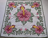 Hawaiian Quilt Baby Blanket, Wall Hanging, 100% Hand Quilted and 100% hand Appliqued 42x42