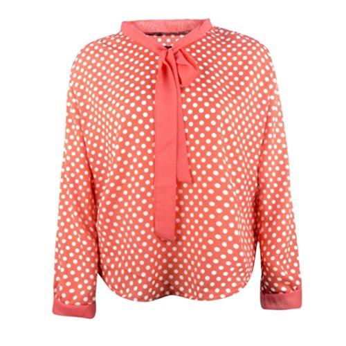 Epoxy Rain Dots - Clearance Women Tops COPPEN Women Long Sleeve Chiffon Bowknot Shirt Casual V-Neck Dots Blouse Top
