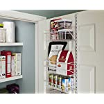 ClosetMaid 1231 Adjustable 8-Tier Wall and Door Rack, 77-Inch Height X 12-Inch Wide,white 8 Store and organize items of various sizes. Easily reposition baskets to accommodate tall and short items. Close wire spacing on baskets keeps items from tilting. Wall and over-the-door solution is perfect for kitchen and pantry organization.
