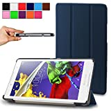 Infiland Lenovo Tab2 A8 Shell Case, Ultra Slim Tri-Fold Stand Case Cover for Lenovo Tab 2 A8-50 8-Inch 16 GB Tablet 2015 Release Only (Tab 2 A8, Navy)
