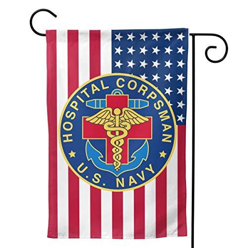 Q7yyg USA Flag Navy Hospital Corpsman Decorative Garden Flag Home House Flag