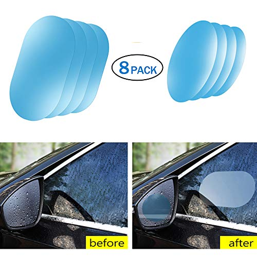 Car Rearview Waterproof Film, Anti Fog Anti-Fogging,Anti-Mist Anti-Dazzle,Mirrors Rainproof,Anti-Glare Side Mirror Window Protector Film,Anti- Fog Clear Car Rearview Mirror Accessories (8)