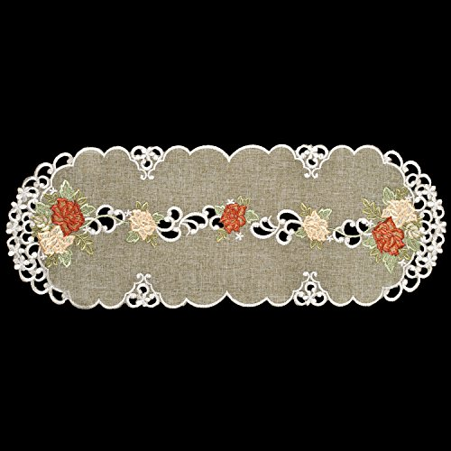 Linens, Art and Things Gold & Rust Roses on Antique Green Table Runner, Dresser Scarf, Toilet Bowl Tank Scarf 8 x 20 Inch