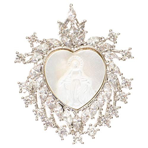 Roman Our Lady of Grace Heart Silver Tone 1 x 1 Brass and Glass Brooch Pin Pendant