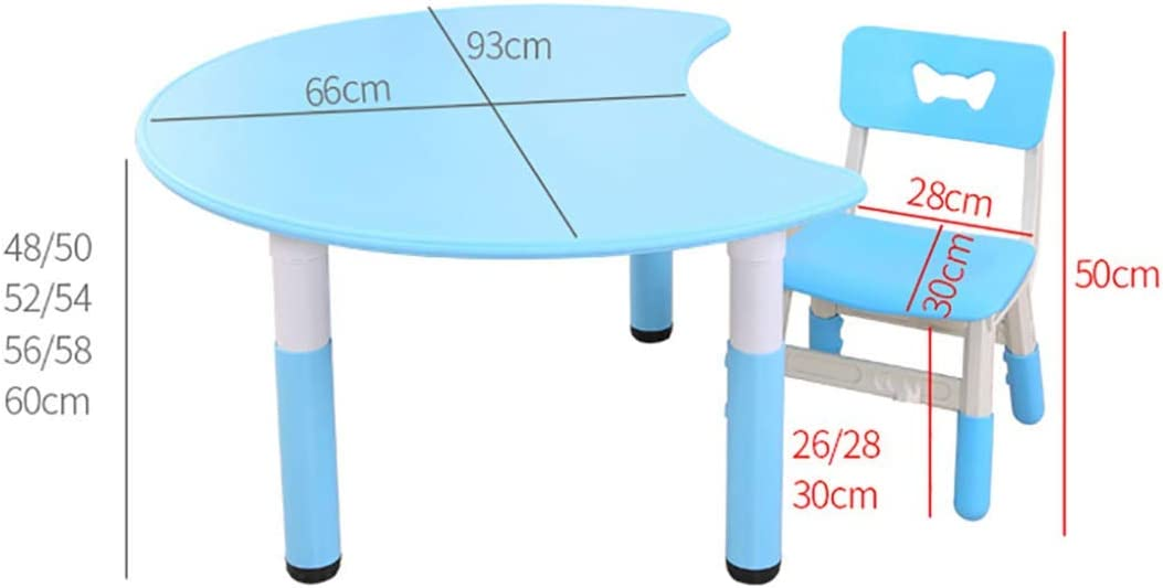NSYNSY Kids Furniture Set - 1 Craft Table & 1kids Chairs, Adjustable Height Table,Easy To Clean, Little Kid Children Furniture Accessories - Plastic Desk Yellow Table and Chair