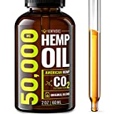 Hemp Oil 50000 MG EXTRA EFFICACY - Stress & Anxiety Relief - Made in The USA - 100% Natural & Safe Hemp Oil - Immune Support - Anti-Inflammatory & Joint Support - Ideal Omega 3, 6, 9 Balance Larger Image