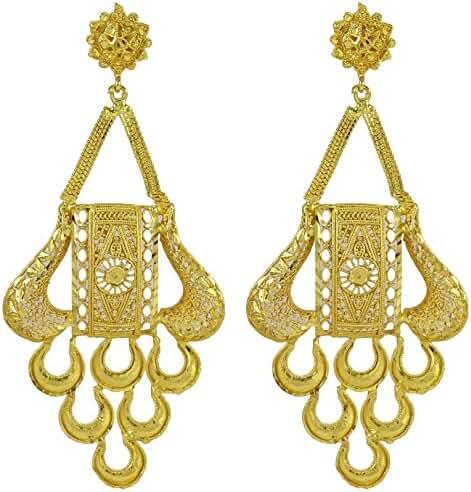 Banithani Traditional 18k Gold Plated Women Party Wear Chandelier Earring Set Jewelry