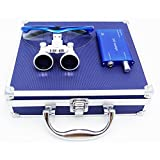 Aries Outlets 3.5x 420mm Working Distance Surgical Binocular Loupes Optical Glass LED HeadLight Aluminum Box Silver/Blue/Black/Red/ (3.5X Dental Loupe with Headlight+Aluminum Box, Blue)