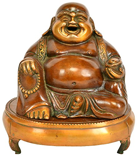 Laughing-Buddha-Incense-Burner-Copper-Sculpture