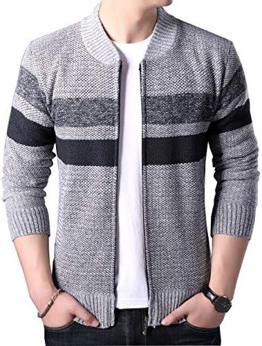 ニットパーカー メンズ ジップアップ ニット セーター カーディガン あったか ジャケット 裏起毛 アウター フード付き 長袖ジップ スタンドカラー 暖かい 大きいサイズ 3色拼接