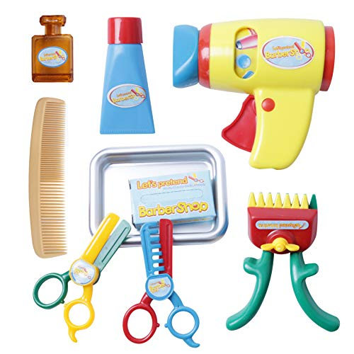 9 Piece Pretend Play Barber Shop Toy Hair Salon Playset for Kids Hairstyle Salon Kit Cut Hair Tool Set Including Hair Dryer, Comb, Hair Trimmers, Scissors(80115B)