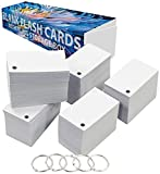 Debra Dale Designs - 1,000 Small Blank Study Flash Cards - Single Hole Punched - 5 Metal Binder Rings - 3.5 x 2 Inches - Heavy 140# Index Card Stock