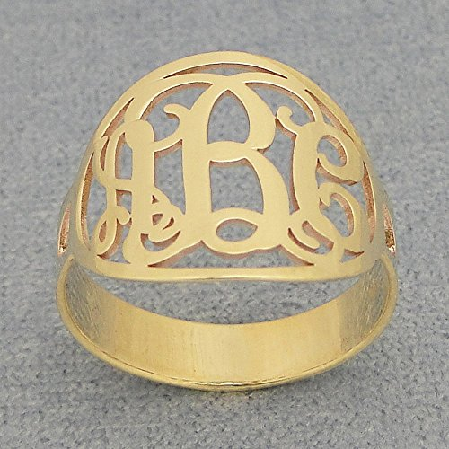 Oval Circle 3 Initial Monogram Ring Solid 14k Yellow Gold Personalized Custom Made Jewelry by Soul Jewelry Inc