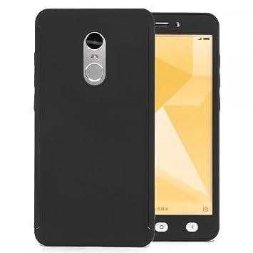 COOVY® Funda para Xiaomi Redmi Note 4X 360 Grados, Carcasa Ultrafina y Ligera, con Protector de Pantalla, protección de Cuerpo Completo | Color Negro