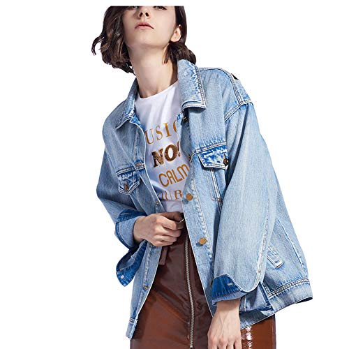 Animados Algodón Moda Mujeres Blue Suelto Jeans Impresión nueva Jacket De Las Mezclilla Chaqueta Dibujos 100 TTFO1qPa