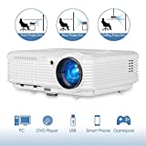CAIWEI Video Projector 4600 Lumen HD 1280x800 Native HDMI USB Multimedia LCD Projector Home Theater LED TV Proyector Compatible with 1080P DVD Laptop Cable Box PS4 Wii Computer with Speakers Zoom