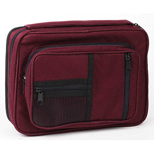 Burgundy Zipper Pocket 7 x 10 inch Reinforced Canvas Bible Cover Case with Handle by Dicksons